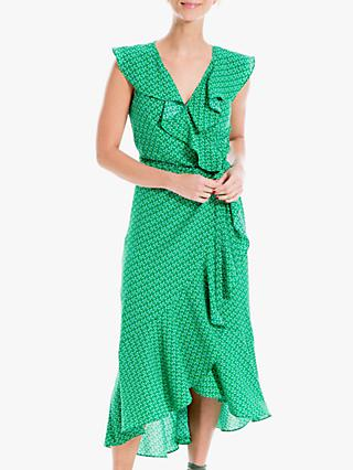 Max Studio Maxi Sleeveless Spot Print Wrap Dress, Lawn/Navy