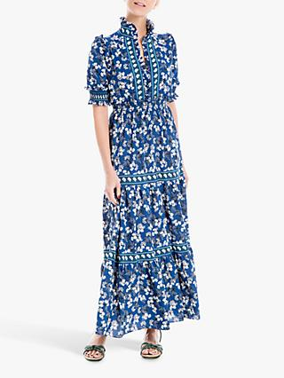 Max Studio Maxi Short Sleeve Floral Print Tiered Dress, Navy/Green Floral Berry