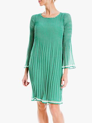 Max Studio Mini 3/4 Sleeve Geometric Print Pleated Dress, Green Tulip Waves