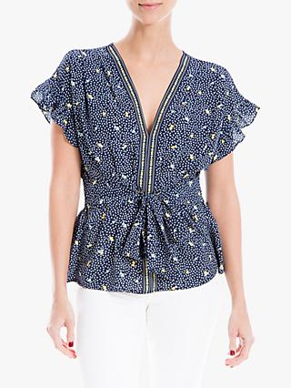 Max Studio Short Sleeve Tie Front Print Top, Navy Mimosa