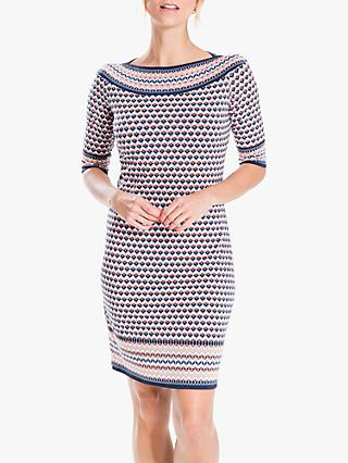 Max Studio Geometric Jersey Dress, Navy/Coral