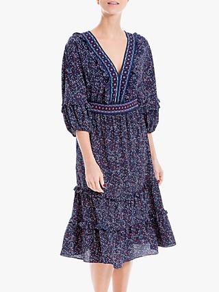 Max Studio 3/4 Sleeve Abstract Print Tiered Dress, Navy/Red