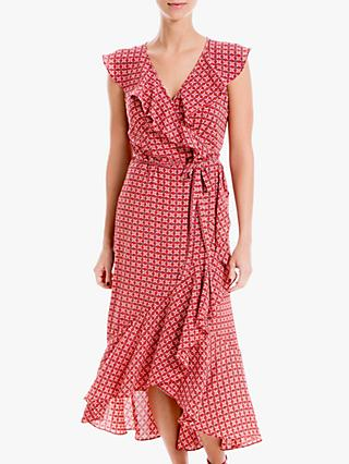 Max Studio Maxi Sleeveless Geo Print Wrap Dress, Scarlett/Navy