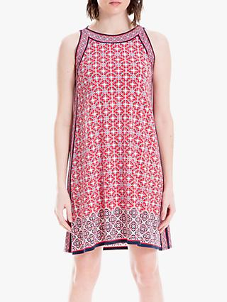 Max Studio Mini Sleeveless Printed Jersey Dress, Navy/Coral