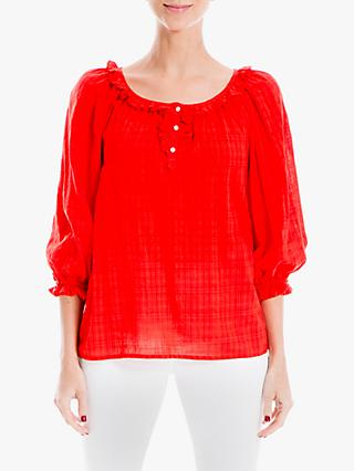 Max Studio Long Sleeve Ruffle Neck Top