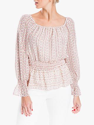Max Studio Long Sleeve Smocked Waist Print Top, Ivory/Carmine
