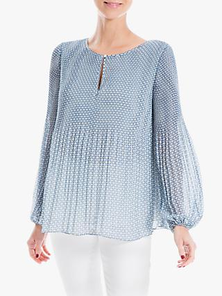 Max Studio Long Sleeve Pleated Print Top, Tofu/Blue