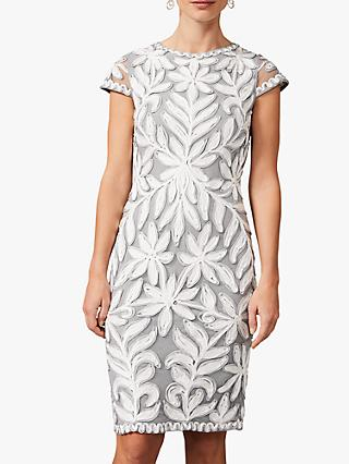 Phase Eight Isobel Tapework Dress, Mineral/ Ivory