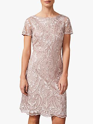 Phase Eight Lizzy Embroidered Dress, Taupe/Ivory