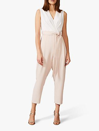 Phase Eight Andie Wrap Jumpsuit, Ivory/Cameo