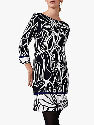 Phase Eight Shisui Abstract Dress, Navy/Ivory
