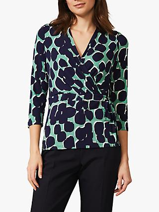 Phase Eight Sakie Spot Wrap Top, Navy/Multi
