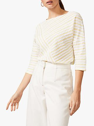 Phase Eight Tabby Stripe Top, Ivory/Yellow