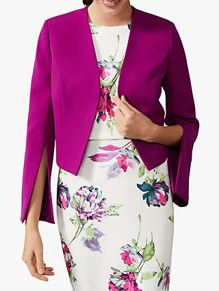 Phase Eight Bridget Split Sleeve Cropped Jacket, Bright Plum