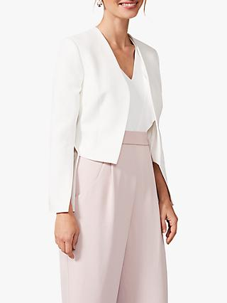 Phase Eight Bridget Split Sleeve Cropped Jacket, Ivory