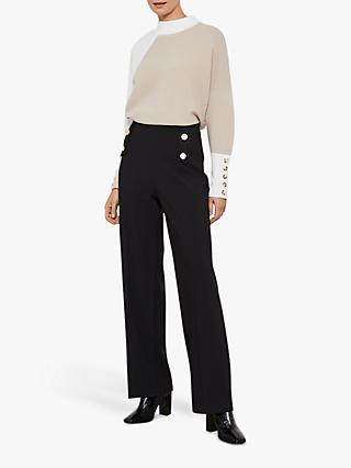 Mint Velvet Button Detail Wide Trousers, Black