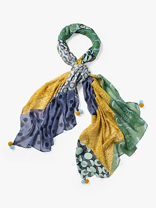White Stuff Margot Printed Scarf, Lagoon Blue