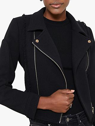 Mint Velvet Knit Biker Jacket, Black