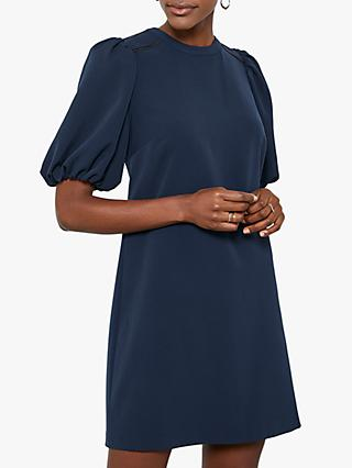 Mint Velvet Puff Sleeve Mini Dress, Dark Blue