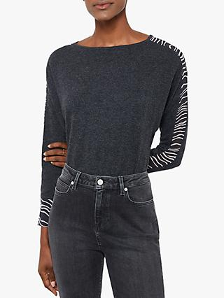 Mint Velvet Stripe Sleeve Jumper, Dark Grey