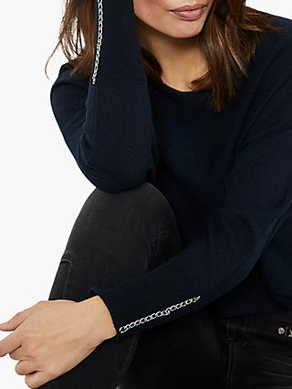Mint Velvet Chain Detail Jumper, Dark Blue