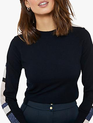 Mint Velvet Sleeve Detail Jumper, Navy