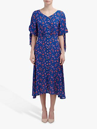 Mercy Delta Ascot Dress, Navy/Pink