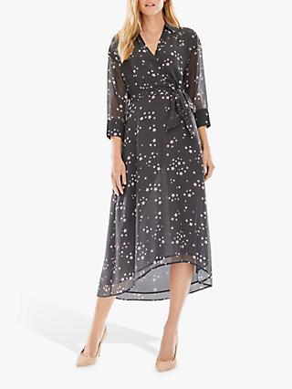 Pure Collection Star Print Midi Dress, Navy