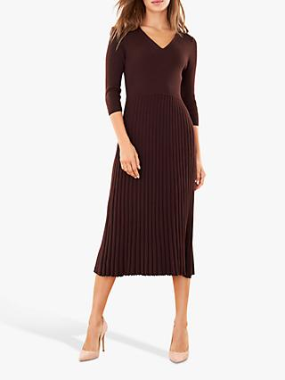 Pure Collection Pleat Detail V Neck Knitted Dress, Chocolate