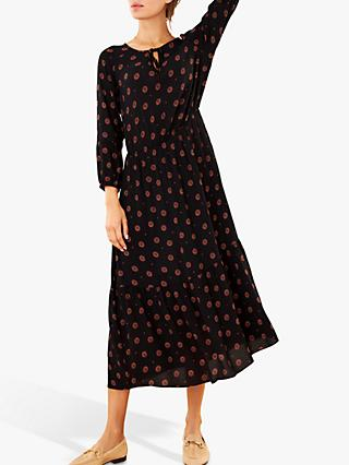 Pure Collection Tie Neck Midi Dress, Foulard Print