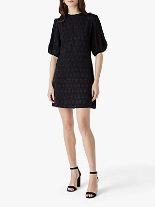 Finery Allington Jacquard Mini Dress, Black