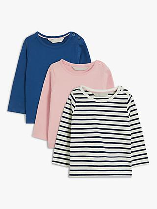 John Lewis & Partners Baby Long Sleeve Organic Cotton Tops, Pack of 3, Blue/Pink