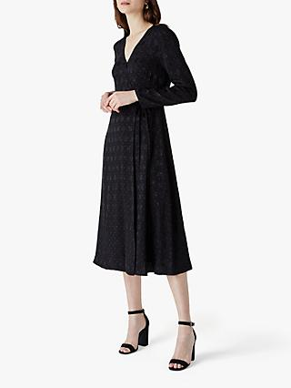 Finery Tilson Jacquard Wrap Dress, Black