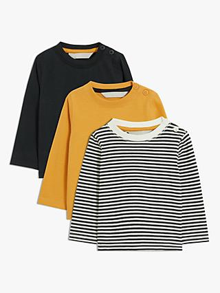 John Lewis & Partners Baby Long Sleeve Organic Cotton Tops, Pack of 3, Black/Yellow