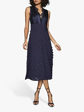 Reiss Leni Jacquard Dress, Navy