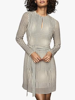 Reiss Elissa Spot Flippy Dress, Black/White