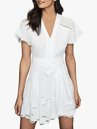 Reiss Gemina Embroidered Mini Dress, White