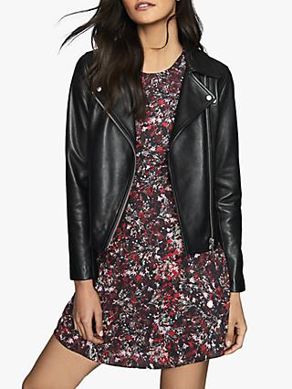 Reiss Louise Ditsy Floral Flared Dress, Black