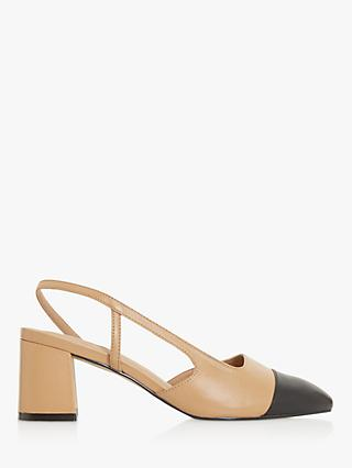 Dune Croft Leather Pointed Toe Court Shoes, Camel/Black