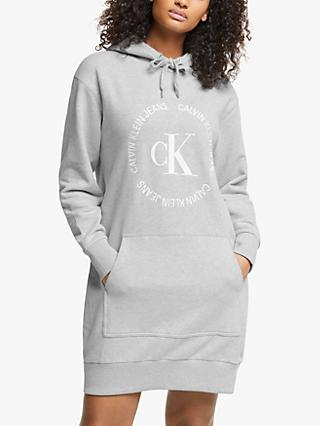 Calvin Klein Jeans Hooded Logo Sweatshirt Dress, Light Grey Heather