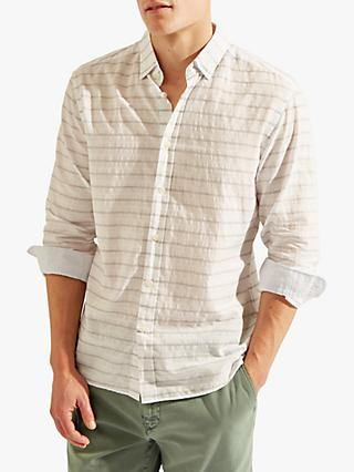 HKT Stripe Cotton Linen Shirt, White/Grey