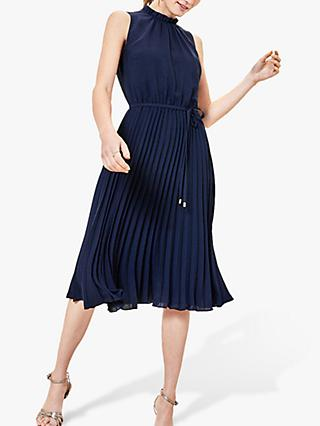 Oasis Pleated Midi Dress, Navy