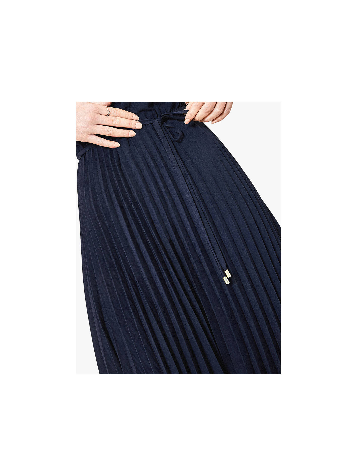 Buy Oasis Pleated Midi Dress, Navy, 6 Online at johnlewis.com