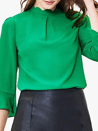 Oasis Scallop Flute Sleeve Blouse, Green