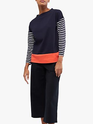 White Stuff Rebecca Colour Block Jersey Top, Ink Navy