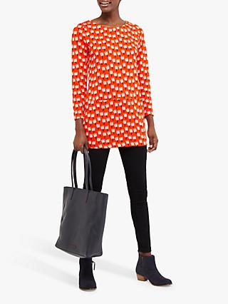 White Stuff Clover Print Jersey Tunic, Coral Red