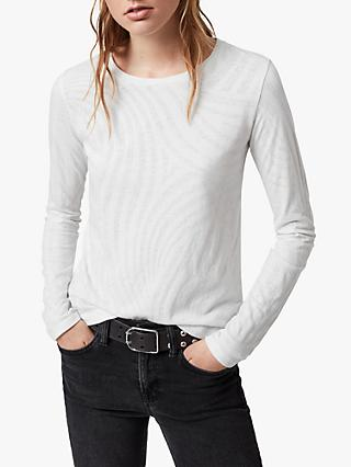 AllSaints Zake Esme Long Sleeve T-Shirt, Smog White