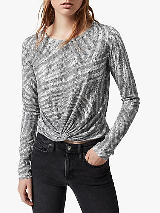 AllSaints Zake Carme Long Sleeve T-Shirt, Grey