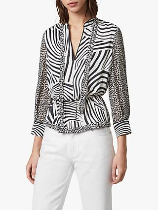 AllSaints Milia Seebra Top, Chalk White