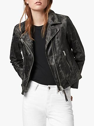 AllSaints Drury Textured Leather Biker Jacket, Black/Grey